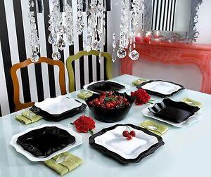 Luminarc-servizio-piatti-per-6-persone-18-pezzi-modello-Authentic-bianco-nero