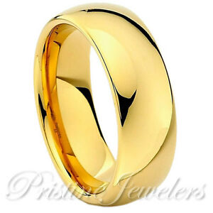Tungsten Carbide 18k Gold Dome Wedding Band Comfort Fit Mens Womens