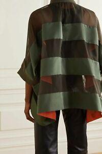 Sacai Army Green Orange Grosgrain Trapeze Bomber Jacket 3 Sheer Paneled Chiffon