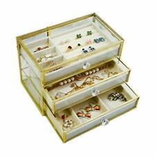 Moochi Golden Brass Vintage Glass Jewelry Box With 3 Drawers Earrings Necklac