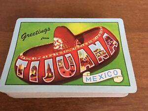 Vintage-Tijuana-Playing-Cards-Mexico-Souvenir-Sombrero-Hat-Complete-Deck