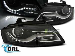 Coppia-di-Fari-Anteriori-LED-DRL-Inside-per-AUDI-A4-B8-2008-2011-Neri-DEPO-IT-LP