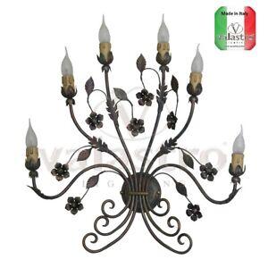 Applique a parete lampada ferro battuto prodotto in italia da valastro lighting ebay - Applique da parete in ferro battuto ...