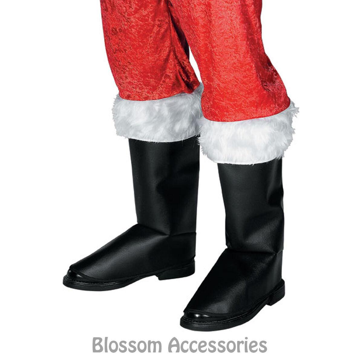 A333 Santa Boot Tops Mens Santa Costume Accessory Christmas Fur Boot Covers