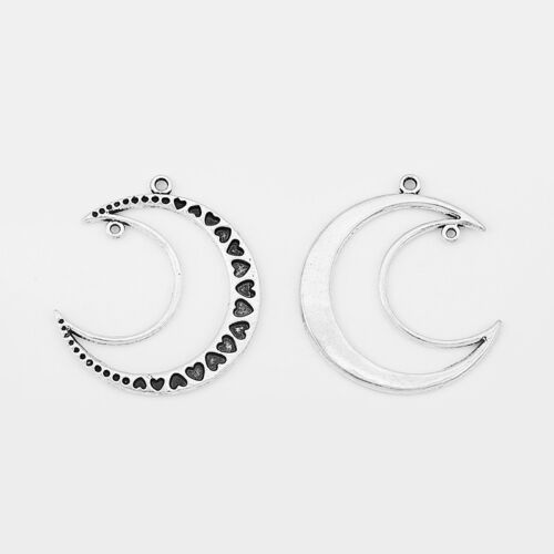5Pcs Large Antique Silver Open Crescent Moon Carve Heart Charms Pendants 51x46mm