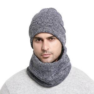 4a6b4382caf 2Pcs Men Women Winter Scarf Hat Set Solid Knit Cotton Thermal ...