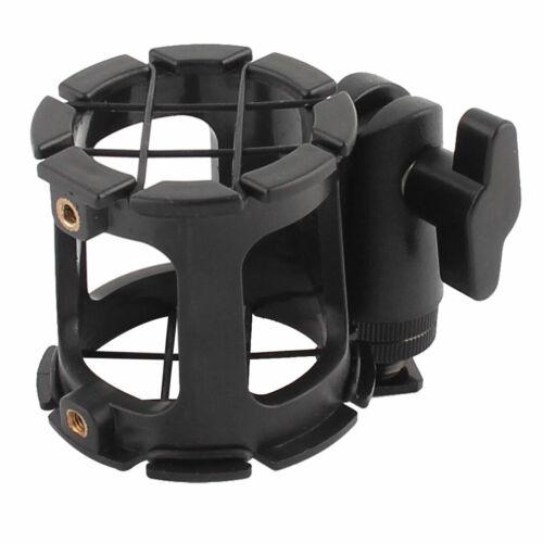 Anti Vibration Micrófono Clip Holder Monte zapata de Adaptador Negro 2 en 1
