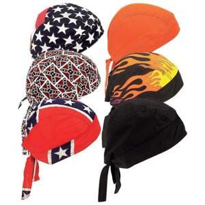 New-6pc-Cotton-Skull-Caps-Hat-Doo-Rag-Biker-Bandana-Head-Wrap-Flames-USA-Black