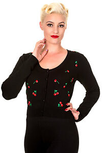 Banned-50s-Rockabilly-Cherry-Embroidery-Cardigan-Cropped-Top-Button-up-BLACK-RED