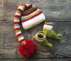 2d881c4d774 Details about Newborn Baby Boy Girl Christmas Elf Hat Booties Knit Photo  Prop Baby Outfit