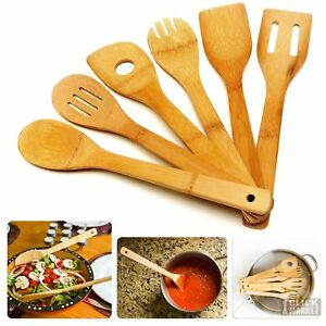 6 Piece Wooden Cooking Utensil Set Bamboo Kitchen Spoons Spatula Tools Wood Kit