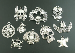 Wholesale-Mixed-Lots-Silver-Tone-Halloween-Gothic-Charms-Pendants