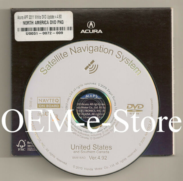 2007 2008 Acura TL & TL Type-S Navigation White DVD Map U
