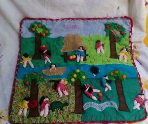 Vintage PERUVIAN FOLK Art 3D Applique Tapestry Wall Hanging
