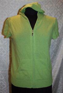 EVELYN-GRACE-100-maglione-di-cashmere-M-Zip-Frontale-maniche-corte-cappuccio