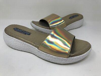New Women/'s Skechers 38600 Cali Burst Introspect Sandal Gold//White B4