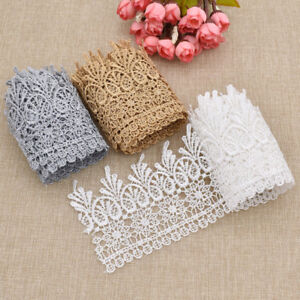 2-Yards-Embroidered-Lace-Edge-Trim-Wedding-Ribbon-Applique-Sewing-Craft-DIY