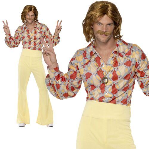 Groovy Guy 60s 70s Costume Disco Mens Music Hippie Flares Fancy Dress M-L