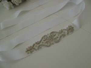 b734c220cf Details about Womens Bridal Wedding Formal Silver Rhinestone White Sash Belt