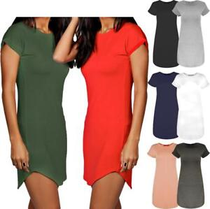 Womens-Hip-Length-Curved-Hem-Roll-Turn-Up-Sleeve-Plain-T-Shirt-Dress