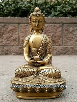 Collectables Dynasty China Old copper Statue Unique Vintage Buddha Lucky 19cm