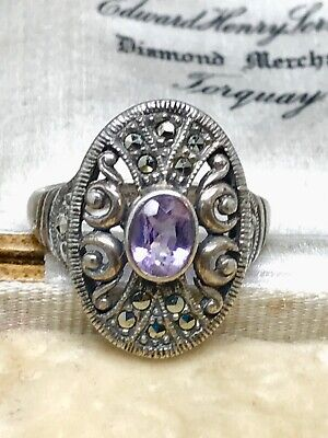 Delicious Lovely Sterling Silver Amethyst & Marcasite Ring Size R Fine Jewelry Precious Metal Without Stones