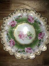vintage m.z. austria cut edge, gold, rose, 8.5 inch plate