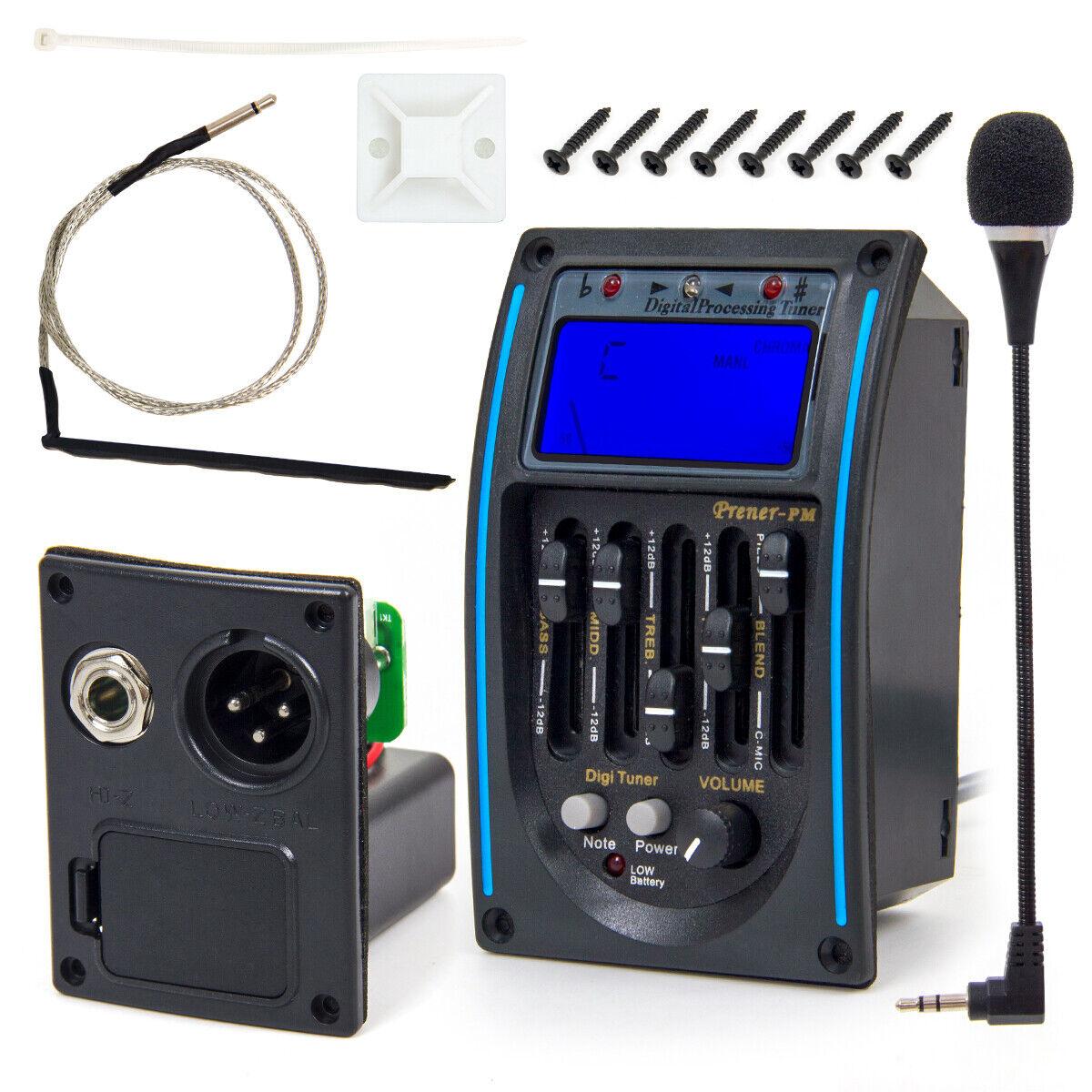 Ukulele Ukelele Piezo Pickup Vorverstärker 3-Band EQ Equalizer Tuner System ZP