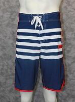 Burnside Heathen Board Shorts - Blue, White & Red - Size 28