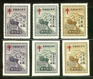 China-1948-Tuberculosis-Relief-Fund-Issue-6v-Cpt-Perf-amp-Imperf-Fresh-MNH