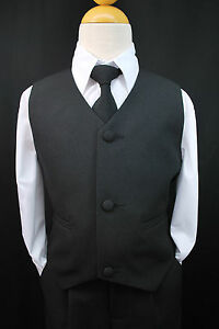 NEW BOYS TODDLER CHILDREN BLACK PARTY VEST SUIT TUXEDO SET Long Tie 2T - 7