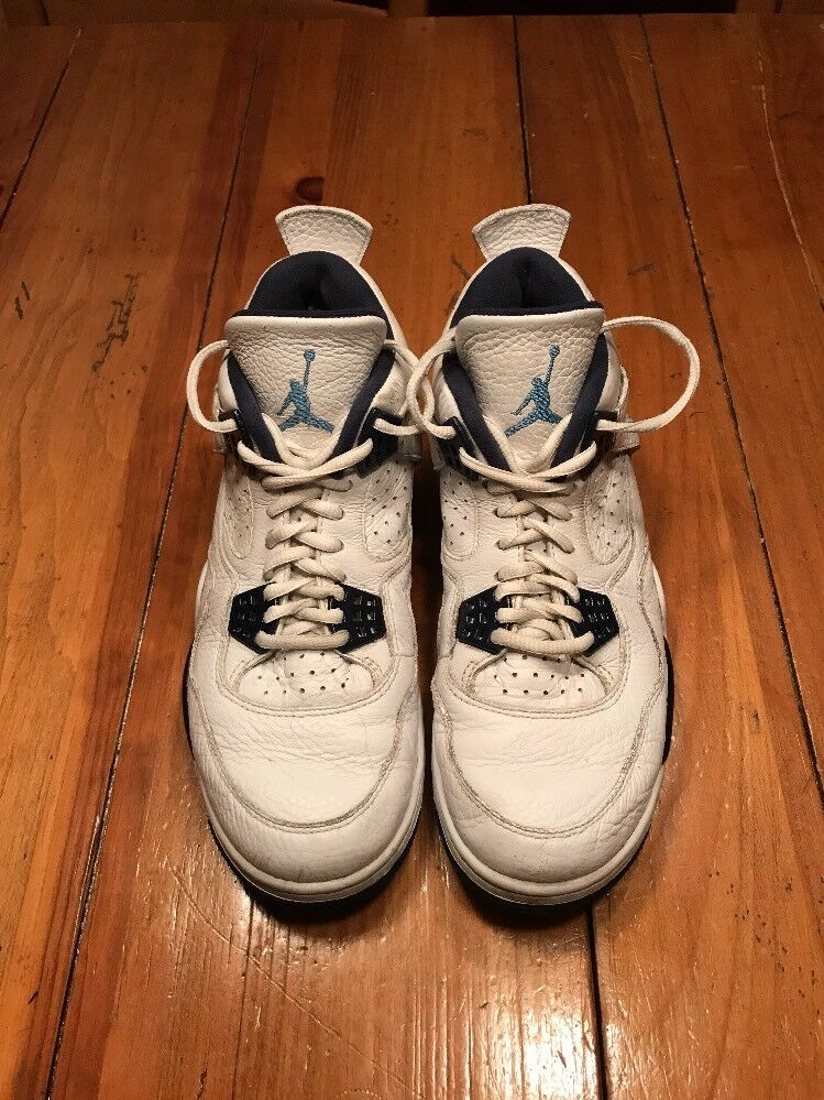 Great Nike Air Jordan 4/IV Retro Shoes, White-Legend Blue-Midnight, Comfortable best-selling model of the brand