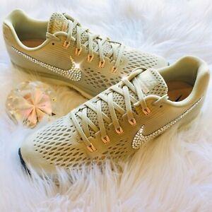 2da4f9716d86e Details about Bling Nike Air Zoom Pegasus 34 Women's Shoes w/ Swarovski  Crystal Swoosh Lt Bone