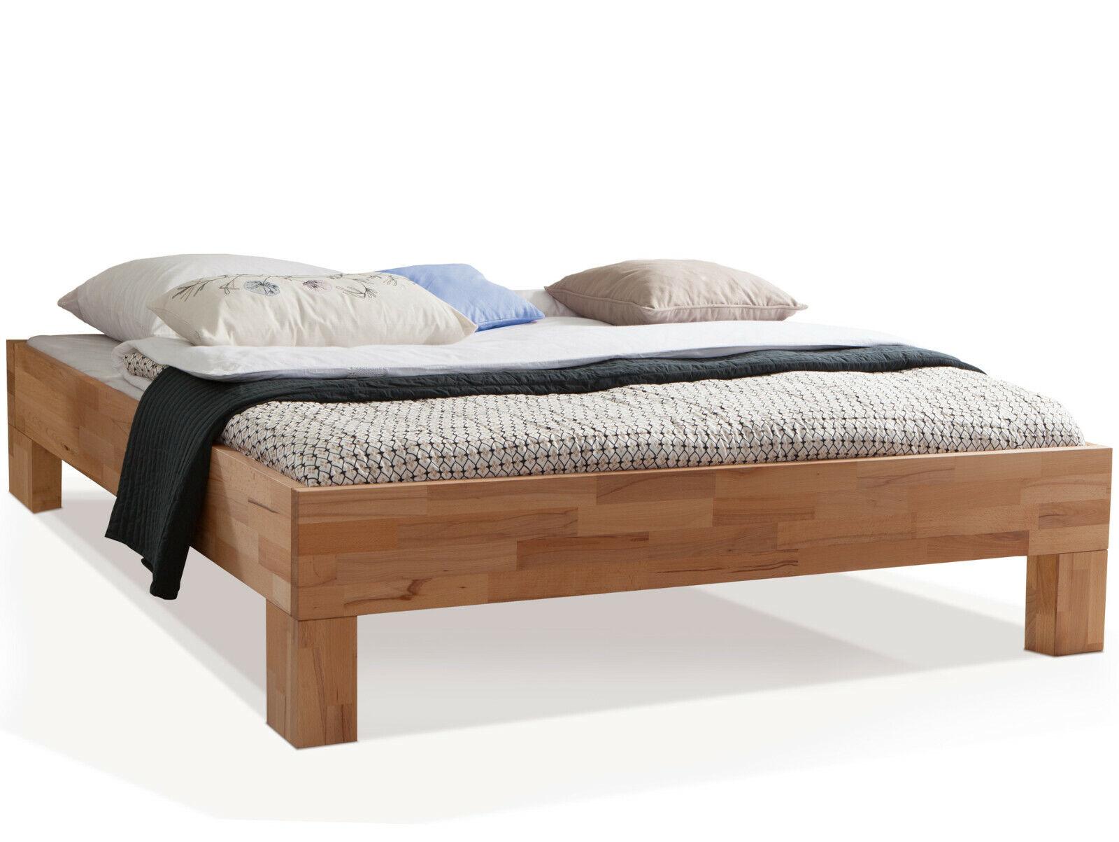 Bett Massivholzbett ohne Kopfteil LÖWEN Wildeiche oder Buche ...