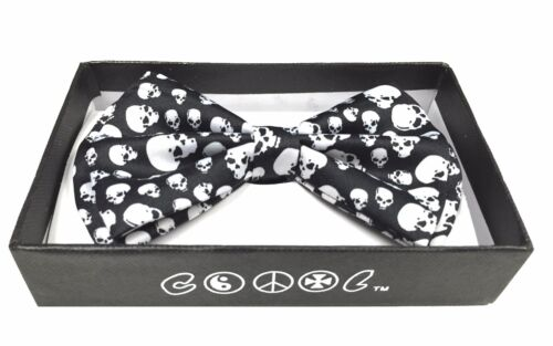 BEYONDFASHION Hommes Femmes Unisexe cravates Tuxedo réglable Bow-tie Big Skulls