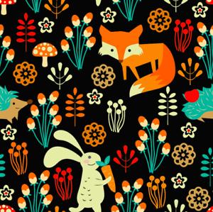 Zorro conejo y Erizo Animal Naturaleza Seta De Tela Spandex Lycra de impresión de 4 vías