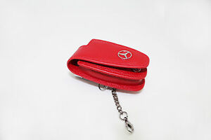 Universal-Star-Logo-Red-Leather-Key-Fob-Protector-Cover-For-Mercedes-Benz-Models