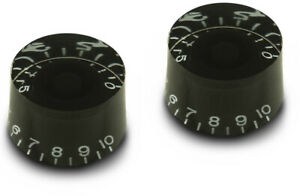 2x BLACK TALL SPEED KNOB VINTAGE 50's FOR GIBSON EPIPHONE STYLE - CTS OR BOURNS