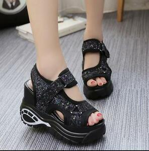Womens-Shoes-Platform-Wedges-Roman-Sport-Sandals-Sneakers-High-Heel-Hollow-Out