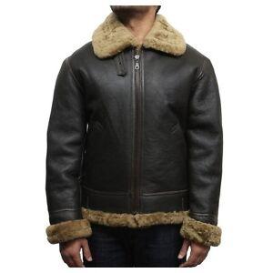 Brandslock Homme Vrai Cuir Peau de Mouton B3 Bomber Veste de Vol   eBay 21d3f338bf7b