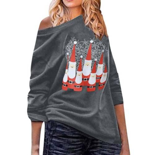 Chriatmas Women Xmas Santa Tunic Tops Sweatshirt Jumper Pullover Shirt Plus Size