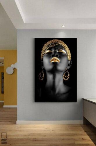 XXL LEINWAND BILD 140x90x5 FRAU SCHWARZ GOLD GEMÄLDE MODERN ART WANDBILD IKEA
