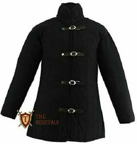 Details about  /Medieval Thick Padded Half Length Full Sleeves Gambeson Coat Aketon Jacket Armor