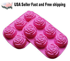 6 Cavity Rose Shaped Silicone DIY Handmade Soap Mold 2 PACK US Seller