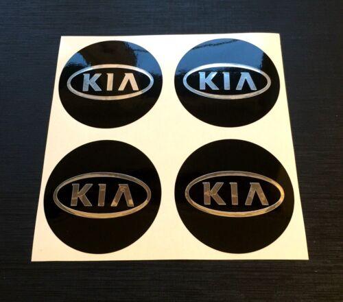 4 x 60mm Adesivi Cerchi in lega effetto cromo adatti KIA centro hub cap badge Trim