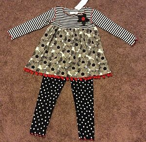Boutique Toddler Girl Baxter & Beatrice 2 Piece Set Sz 4- NWT!! (Christmas)