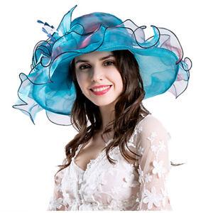 a20779de Elegant Women Lace Wide Brim Kentucky Derby Sun Hat Wedding Tea ...