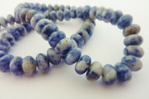 50-pce-Natural-Blue-Spot-Stone-Abacus-Gemstone-Beads-8mm-x-5mm-Jewellery-Making