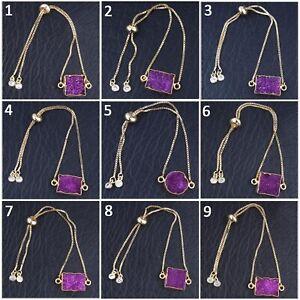 Purple-Natural-Agate-Sugar-Druzy-Gold-Plated-Adjustable-Chain-Bangle-Bracelet