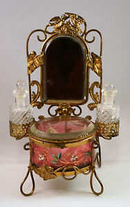 Antique-Art-Nouveau-Dresser-Vanity-Set-Mirror-Perfume-Cranberry-Glass-Compact